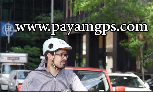 کلاهک ایمنی دوچرخه سواری مجهز به چراغ ترمز، ردیاب جی پی اس