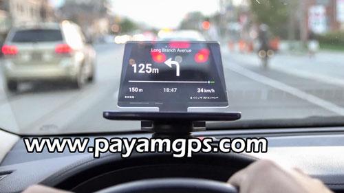 نمایشگر شفاف Hudify و استفاده از ردیاب موبایل بعنوان رهیاب ماشین برای نمایش سرعت ماشین