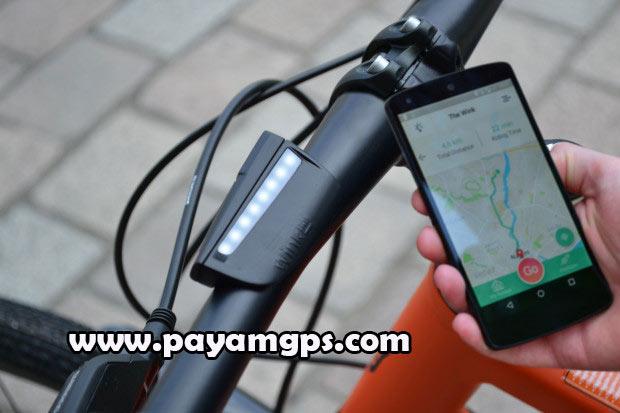 پیدار کردن مسیر حرکت دوچرخه از طریق ردیاب موبایل متصل شده به فرمان Wink Bar